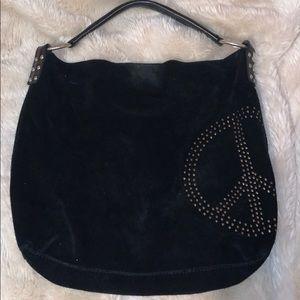 LUCKY BRAND black suede peace sign purse